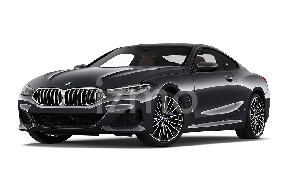 Stock pictures of low aggressive front three quarter view of a 2019 BMW 8 Series M Sport 2 Door Coupe