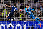 Goalkeeper Ali Reza Safarbeiranvand of Iran (R) reaches for the ball after an attempt at goal by Osako Yuya of Japan (L) during the AFC Asian Cup UAE 2019 Semi Finals match between I.R. Iran (IRN) and Japan (JPN) at Hazza Bin Zayed Stadium  on 28 January 2019 in Al Alin, United Arab Emirates. Photo by Marcio Rodrigo Machado / Power Sport Images