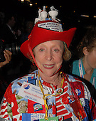 Denver, CO - August 25, 2008 -- Maxine Goldstein of the Democratic Party of Georgia wears an interesting outfit on the floor of the 2008 Democratic National Convention at the Pepsi Center in Denver, Colorado on Monday, August 25, 2008..Credit: Ron Sachs - CNP.(RESTRICTION: NO New York or New Jersey Newspapers or newspapers within a 75 mile radius of New York City)