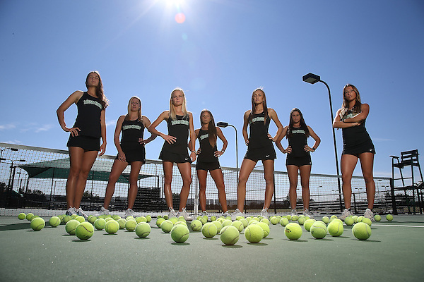 DENTON TX - OCTOBER 25: Dane Joubert,Kseniya Bardabush,Agustina Valenzuela,Franziska Sprinkmeyer ,Kamilla Galieva,Ana Sofia Cordero,Alexis Thoma  of the North Texas Mean Green Tennis team at Waranch Tennis Center in Denton on October 25, 2013 in Denton, Texas. (Photo by Rick Yeatts)