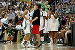 01 APRIL 2012:  Skylar Diggins (4) of the University of Notre Dame celebrates the Fighting Irish victory with Head Coach Muffet McGraw during the Division I Women's Final Four Semifinals at the Pepsi Center in Denver, CO.  Notre Dame defeated UCONN 83-75 to advance to the national championship game.  Jamie Schwaberow/NCAA Photos