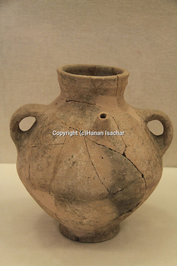 An Amphora, 11th century BC, found in a favissa of a Philistine Temple in Tel Qasile, on display at the Hecht Museum, the University of Haifa