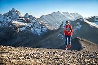 Trail running from the Lauterbrunnen Valley to the Schilthorn, Switzerland