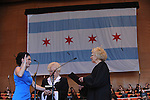 City Clerk of the City of Chicago Susana Mendoza is sworn in by Illinois Supreme Court Justice Anne Burke in Millennium Park in Chicago, Illinois on May 16, 2011.
