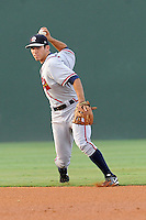 Shortstop Eric Garcia (8) of the Rome Braves in a game against the Greenville Drive on Thursday, August 22, 2013, at Fluor Field at the West End in Greenville, South Carolina. Rome won, 7-3.(Tom Priddy/Four Seam Images)