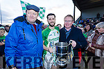 Ballydonoghue winners of the Final of the Bernard O Callaghan North Kerry Senior Football Championship, sponsored by McMunns Bar and Restaurant Ballybunion, St.Senans V Ballydonoghue  at Frank Sheehy Park, Listowel on Sunday. Pictured Captain Stephen Lonergan