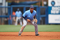 Tampa Bay Rays Kaleo Johnson (83) during a Florida Instructional League game against the Baltimore Orioles on October 1, 2018 at the Charlotte Sports Park in Port Charlotte, Florida.  (Mike Janes/Four Seam Images)