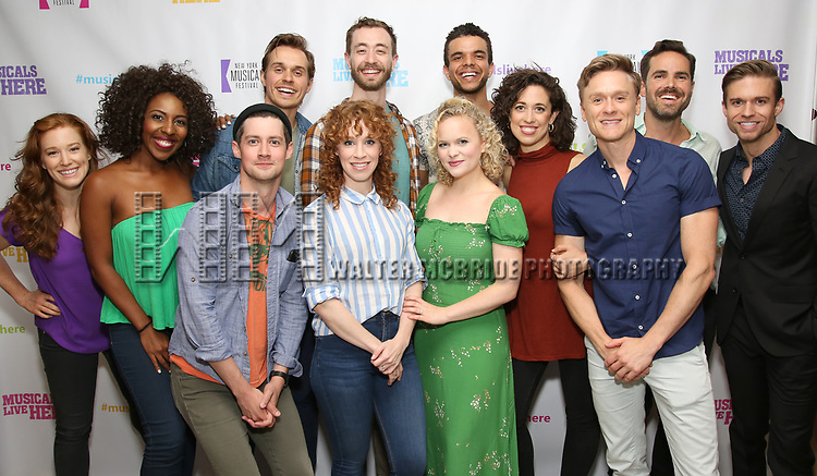 """Kennedy Caughell, Daisy Hobbs, Chris Dwan, Zach Adkins, Lindsay Nicole Chambers, Alex Gibson, Amanda Jane Cooper, Blaine Alden Krauss, Mary Page Nance, Josh Canfield, Nicholas Belton and Hunter Ryan Herdlicka backstage at the New York Musical Festival production of  """"Alive! The Zombie Musical"""" at the Alice Griffin Jewel Box Theatre on July 29, 2019 in New York City."""