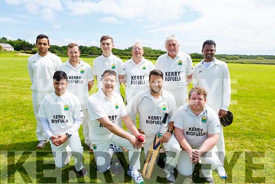 The Kerry Cricket club team ready to play North Kerry on Sunday at the Oval in Spa.<br /> Kneeling l-r, Omid Wazairi, Herlo Coedzer, Jaen Roux and Sean Rutland.<br /> Back l-r, Nial Riaz, Ian Rutland, Darragh Lynch, Richard Rutland, Dave Ramsey and Peter Thomas.