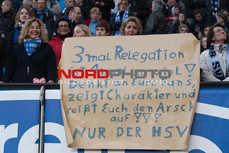 22.04.2016, Volksparkstadion, Hamburg, GER, 1.FBL. Hamburger SV vs Werder Bremen , im Bild<br /> <br /> 3 mal Relegation ist 1mal zu viel - denkt an eure Fans zeigt Charakter und rei&szlig;t euch den Arsch auf - nur der HSF - Fan Aktion vor dem Spiel<br /> <br /> Gestik, Mimik,<br /> Feature<br /> <br /> Foto &copy; nordphoto / Kokenge