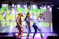 LONDON, ENGLAND - JUNE 3: Donny Latupeirissa, Kim Sasabone and Robin Pors of 'Vengaboys' performing at Mighty Hoopla at Brockwell Park, Brixton on June 3, 2018 in London<br /> CAP/MAR<br /> &copy;MAR/Capital Pictures