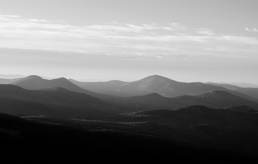 East to the Doubleheads and Mt Kearsarge North early on a summer morning.