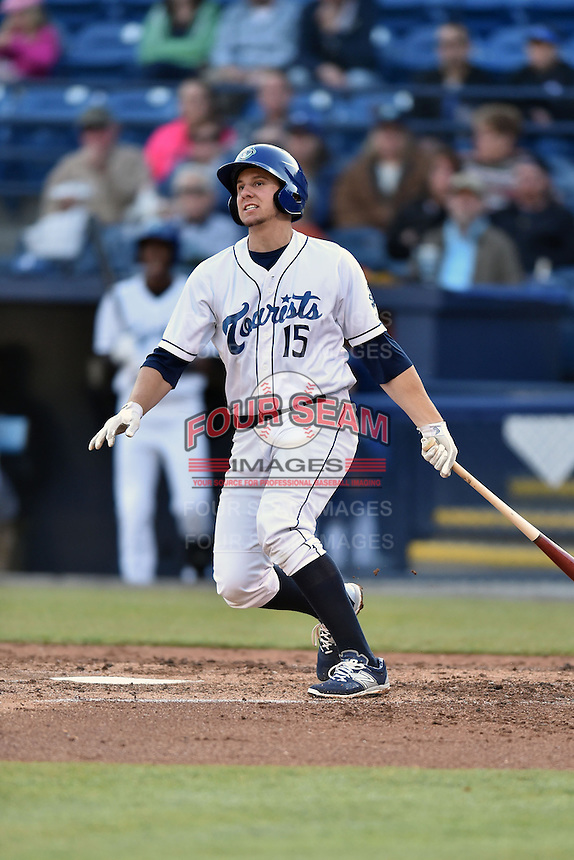 Asheville Tourists third baseman Kevin Padlo (13) swings at a pitch during a game against the Lexington Legends on May 1, 2015 in Asheville, North Carolina. The Tourists defeated the Legends 4-1. (Tony Farlow/Four Seam Images)
