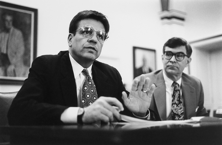 Rep. Mike Synar, D-Okla., and Rep. David Skaggs, D-Colo., at a House Rules in Capitol Hill., on March 17, 1993. (Photo by Maureen Keating/CQ Roll Call)