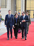 Egyptian President Abdel Fattah al-Sisi walks with French President Emmanuel Macron as he leaves the three days visit to Egypt, Cairo, Egypt, January 29, 2019. Photo by Egyptian President Office \ apaimages