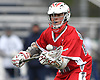 Tyler Cordes #26 of Connetquot catches a pass during a Suffolk County varsity boys lacrosse game against host Huntington High School on Friday, April 7, 2017. Connetquot rallied from a 12-10 deficit early in the fourth quarter to win 15-14.