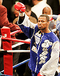 FEBRUARY 24 2006 The left eye of Fernando Vargas swells up The fight was called in the 10th round because of swelling in the left eye of Vargas as Mosley was given the 10th round TKO victory of the junior middleweight fight at the Mandalay Bay Events Center on February 25, 2006 in Las Vegas, Nevada.