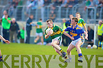 Marcus Mangan (kerry) shows som determinatipon as Keith Kennedy (Tippersary) bloks his passing in the Munster GAA -ESB Minor Football Championship,Quarter Final 2010 in Austin Stack Park, Tralee on Wednesday evening.................................................................. ........
