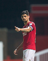 Goal scorer Raphael Rossi Branco of Swindon Town gives a thumb up during the The Checkatrade Trophy match between Swindon Town and Chelsea U23 at the County Ground, Swindon, England on 13 September 2016. Photo by Andy Rowland.