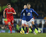 Kevin Mirallas of Everton gets away from Joe Allen of Liverpool - Barclays Premier League - Everton vs Liverpool - Goodison Park Stadium  - Liverpool - England - 7th February 2015 - Picture Simon Bellis/Sportimage