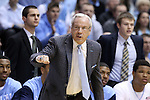 08 January 2014: UNC head coach Roy Williams. The University of North Carolina Tar Heels played the University of Miami Hurricanes in an NCAA Division I Men's basketball game at the Dean E. Smith Center in Chapel Hill, North Carolina. Miami won the game 63-57.