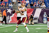 August 9, 2018: Washington Redskins quarterback Colt McCoy (12) throws a pass during the NFL pre-season football game between the Washington Redskins and the New England Patriots at Gillette Stadium, in Foxborough, Massachusetts. The Patriots defeat the Redskins 26-17. Eric Canha/CSM
