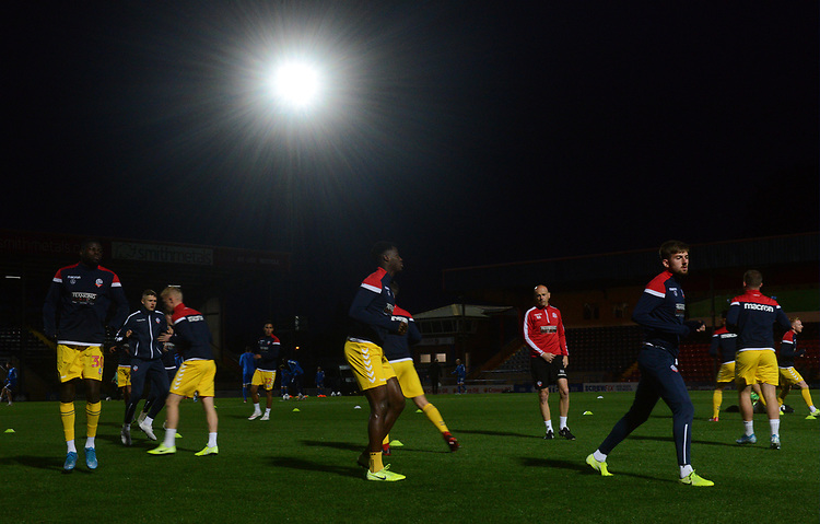 Bolton Wanderers during the pre-match warm-up <br /> <br /> Photographer Kevin Barnes/CameraSport<br /> <br /> EFL Leasing.com Trophy - Northern Section - Group F - Rochdale v Bolton Wanderers - Tuesday 1st October 2019  - University of Bolton Stadium - Bolton<br />  <br /> World Copyright © 2018 CameraSport. All rights reserved. 43 Linden Ave. Countesthorpe. Leicester. England. LE8 5PG - Tel: +44 (0) 116 277 4147 - admin@camerasport.com - www.camerasport.com