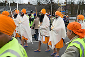 The Five Sacred Ones (Panj Piaras) lead thousands of local residents in a procession through Southall, West London, to celebrate the Sikh festival of Vaisakhi.