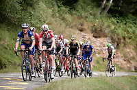 grupetto with Jens Keukeleire (BEL/Lotto-Soudal) & Yves Lampaert (BEL/Deceuninck-Quick Step) up the very steep section (+16%) of the Mur de Péguère (Cat1/1375m/9.3km/7.9%)<br /> <br /> Stage 15: Limoux to Foix (185km)<br /> 106th Tour de France 2019 (2.UWT)<br /> <br /> ©kramon