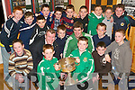 SAM'S BACK: Pictured with their heroes Kerry Footballers Diarmuid Murphy and Eamon Fitzmaurice, with the Sam Maguire, at the Listowel Emmet's Awards night at the club rooms on Thursday evening were the Under 12s North Kerry Champions front l-r: Cian Dore, Jake Moriarty, Shane McGreggor, Michael Stack, Chris Gilbert, Brion O'Donnell and David Keane. Back l-r: Tom Trench, Jonathan O'Brien, Darragh Leahy, Evan O'Brien, Paul Kennedy, Kenneth Kelliher, Darragh Broderick and Daniel Costello.   Copyright Kerry's Eye 2008