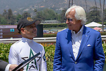 """ARCADIA, CA  JUNE 23: Bob Baffert and Mike Smith share a laugh on  """"Justify Day"""" on June 23, 2018 at Santa Anita Park in Arcadia, CA.  (Photo by Casey Phillips/Eclipse Sportswire/Getty Images)"""