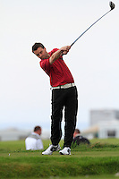 Kiernan Lovelock (Hindhead, UK) on the 1st tee during round 2 of The West of Ireland Amateur Open in Co. Sligo Golf Club on Saturday 19th April 2014.<br /> Picture:  Thos Caffrey / www.golffile.ie