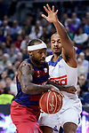 Real Madrid's Dontaye Draper and FC Barcelona Lassa's Tyrese Rice during Liga Endesa match between Real Madrid and FC Barcelona Lassa at Wizink Center in Madrid, Spain. March 12, 2017. (ALTERPHOTOS/BorjaB.Hojas)
