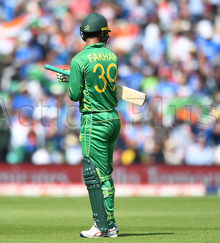 June 18th 2017, The Kia Oval, London, England;  ICC Champions Trophy Cricket Final; India versus Pakistan; Fakhar Zaman of Pakistan is called back after thinking he was dismissed on a no ball