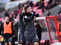 Lincoln City's Shay McCartan, right, celebrates scoring his side's second goal with team-mate Harry Toffolo<br /> <br /> Photographer Andrew Vaughan/CameraSport<br /> <br /> The EFL Sky Bet League Two - Swindon Town v Lincoln City - Saturday 12th January 2019 - County Ground - Swindon<br /> <br /> World Copyright © 2019 CameraSport. All rights reserved. 43 Linden Ave. Countesthorpe. Leicester. England. LE8 5PG - Tel: +44 (0) 116 277 4147 - admin@camerasport.com - www.camerasport.com