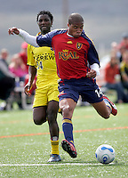 Real Salt Lake FW Ryan Johnson (14) takes a shot on goal in the Columbus Crew Reserves 2-0 loss to Reserves of Real Salt Lake at Quinn Sports Complex in Park City, Utah May 7, 2006