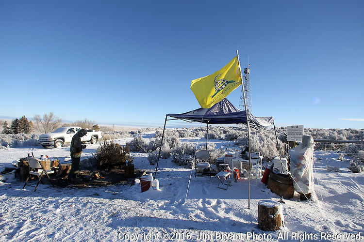 An activists pulls sentry duty at the Malheur National Wildlife Reserve on January 15, 2016 in Burns, Oregon.  Ammon Bundy and about 20 other protesters took over the refuge on Jan. 2 after a rally to support the imprisoned local ranchers Dwight Hammond Jr., and his son, Steven Hammond. ©2016. Jim Bryant Photo. All Rights Reserved.