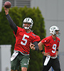 Christian Hackenberg #5, New York Jets quarterback, throws a pass during the first day of offseason training activity at the Atlantic Health Jets Training Center in Florham Park, NJ on Tuesday, May 23, 2017.