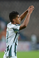 MEDELLÍN -COLOMBIA-26-02-2015. Jonathan Mejia (Der) jugador de Atlético Nacional celebra un gol anotado a Patriotas FC durante partido por la fecha 6 de la Liga Aguila I 2015 jugado en el estadio Atanasio Girardot de la ciudad de Medellín./ Jonathan Mejia (R) player of Atletico Nacional celebrates a goal scored to Patriotas FC during the match for the  6th date of the Aguila League I 2015 at Atanasio Girardot stadium in Medellin city. Photo: VizzorImage/León Monsalve/STR