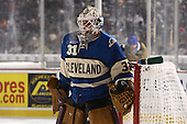 Lake Erie Monsters goalie Calvin Pickard (31) in goal during the first period of The Frozen Frontier outdoor AHL game against the Rochester Amerks at Frontier Field on December 13, 2013 in Rochester, New York.  (Copyright Mike Janes Photography)
