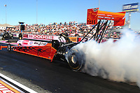 Oct. 28 2011; Las Vegas, NV, USA: NHRA top fuel dragster driver Mike Salinas during qualifying for the Big O Tires Nationals at The Strip at Las Vegas Motor Speedway. Mandatory Credit: Mark J. Rebilas-