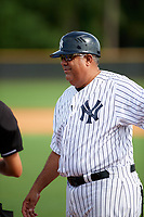 GCL Yankees East manager Luis Sojo during the first game of a doubleheader against the GCL Blue Jays on July 24, 2017 at the Yankees Minor League Complex in Tampa, Florida.  GCL Blue Jays defeated the GCL Yankees East 6-3 in a game that originally started on July 8th.  (Mike Janes/Four Seam Images)
