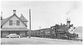 D&amp;RGW C-18 #318 with stock train at Ridgway depot.<br /> RGS  Ridgway, CO  10/4/1951
