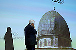 Palestinian President Mahmoud Abbas attends the opening ceremony of the 'Jerusalem in Memory' exhibition in the West Bank city of Ramallah, 04 January 2015. Abbas spoke about the steps he took to try and get membership for Palestinians to the International Criminal Court, in a move strongly condemned by both Washington and Israel. Photo by Shadi Hatem