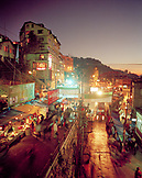 INDIA, West Bengal, street and market scene at night, Darjeeling