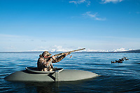 Outdoor Life Editor John Snow hunts sea birds in a layout boat in Cold Bay, Alaska, Thursday, November 3, 2016. The Izembek National Wildlife Refuge lies on the northwest coastal side of central Aleutians East Borough along the Bering Sea. <br /> <br /> Photo by Matt Nager