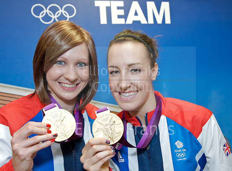 Joanna Rowsell and Dani King of the Women's Team Pursuit at Team GB House, Stratford, London, Great Britain after winning an Olympic  Gold Medal in the Velodrome. (Laura Trott also in the team was missing from the photo).<br /> <br /> Photograph by Elliott Franks <br /> <br /> 4th August 2012