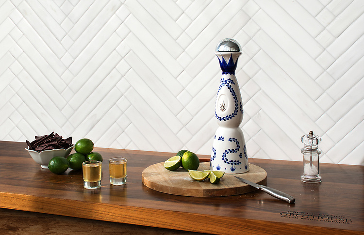 Antiquera, a hand-cut mosaic shown in venetian honed Dolomite, is part of The Studio Line of Ready to Ship mosaics. Designed by Paul Schatz for New Ravenna.<br /> <br /> <br /> -Counter courtesy of Grothouse Solid Wood Surfaces.<br /> www.glumber.com
