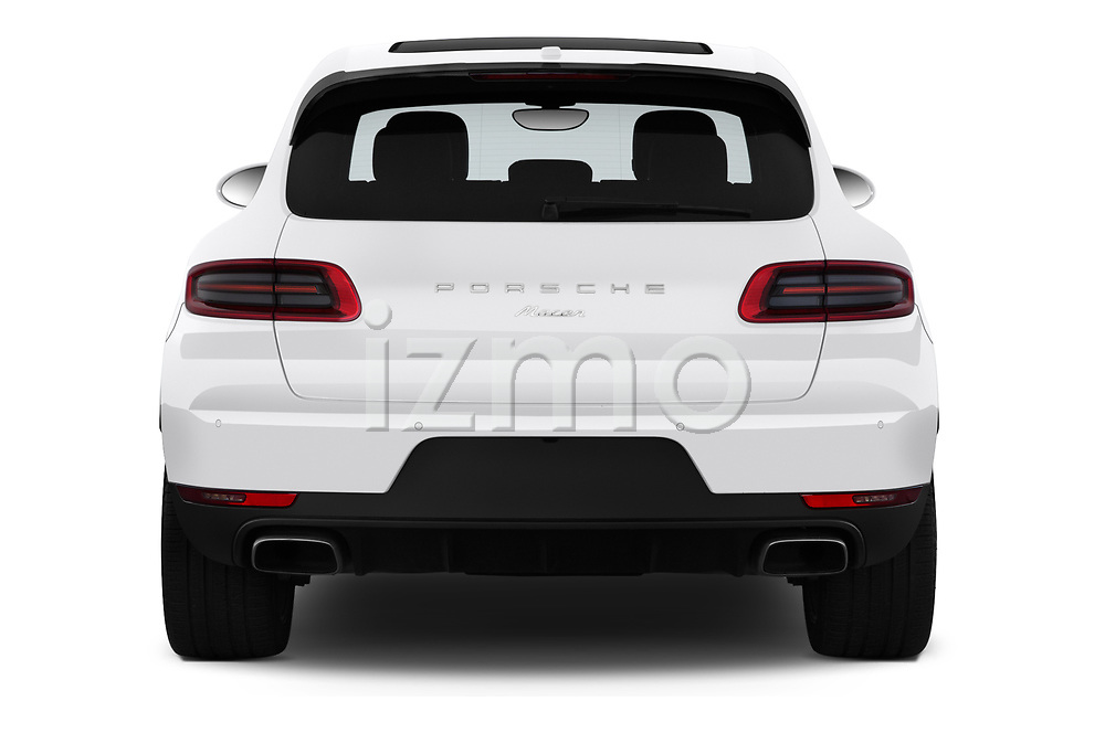 Straight rear view of a 2018 Porsche Macan Base 5 Door SUV stock images