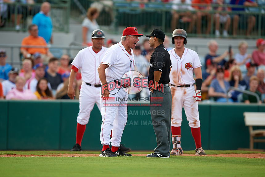 Florida Fire Frogs manager Rocket Wheeler argues with umpire Jose Navas during a game against the St. Lucie Mets on July 23, 2017 at Osceola County Stadium in Kissimmee, Florida.  St. Lucie defeated Florida 3-2.  (Mike Janes/Four Seam Images)